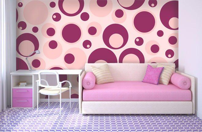Rose Et Violet Mur à La Chambre De La Jeune Fille